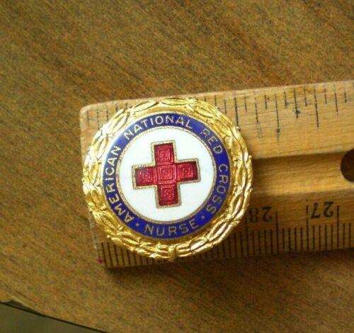 Vintage AMERICAN NATIONAL RED CROSS NURSE PIN #101741 WWII 1942 Enamel