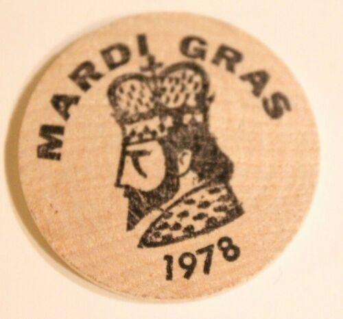 Vintage Wooden Nickel Mardi Gras 1978