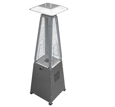 10,000 BTU Portable Stainless Steel Glass Tube Gas Patio Heater Outdoor Tabletop ()