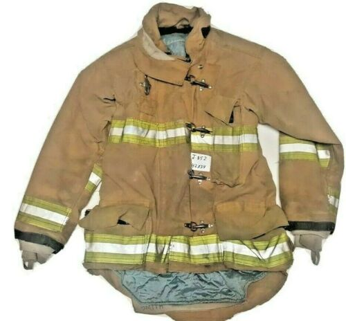 42x35 Janesville Lion Firefighter Brown Turnout Jacket Coat w/ Yellow Tape J873