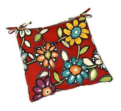 Red Contemporay Floral Patio Chair Tufted Seat Cushion w/ Ties - Choose Size