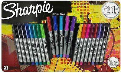 Sharpie Permanent Markers Ultra Fine Point Assorted Colors 21-count