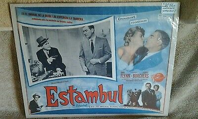 """ESTAMBUL""UNIVERSAL PICTURES, MEXICO;LOBBY CARD; ERROL FLYNN;16 1/2"" X 13"""
