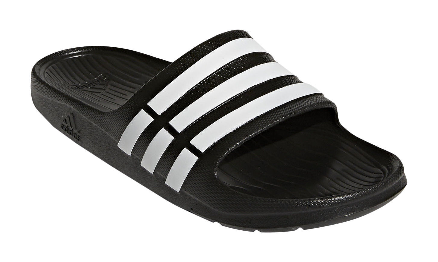52ddfd563 adidas Duramo Men s Slides - Size 12 - Black   White for sale online ...
