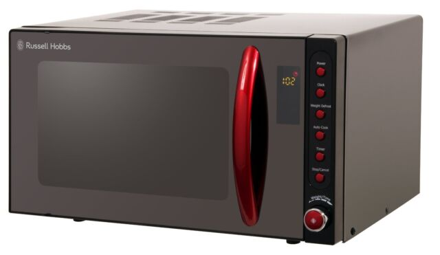 Russell Hobbs RHM2080BR 20 Litre Black Digital Microwave With Red Handle