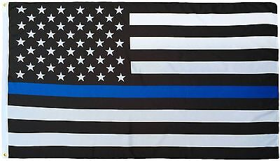 3x5 Police USA Blue Line Memorial Law Enforcement Flag 3'x5' Polyester Grommets