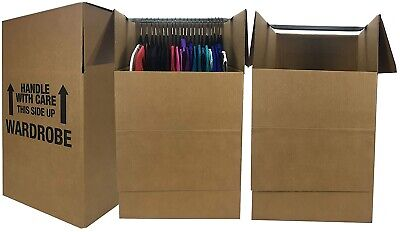 Uboxes Wardrobe Moving Boxes - Shorty Space Savers - 3 Pk 20x20x34 W Bars