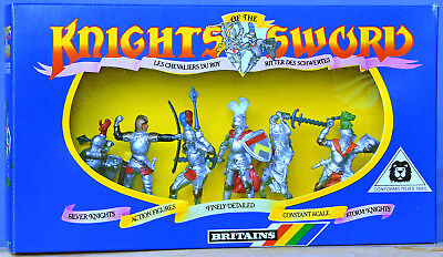 Britains Deetail # 7774 - 7 Silver Knights mint-in-box - 1st & 2nd series poses