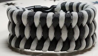 Oakland Raiders Trilobite Wide Weave Black & Silver Paracord Survival Bracelet