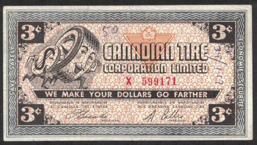 Canadian tire money  CTC G02-C-X 0.03 cents VF cash bonus note X599171