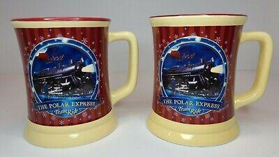 Set Of (2) Polar Express Christmas Believe Train Ride Hot Chocolate Ceramic Mugs
