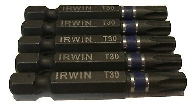 "Lot of (5) Irwin Tools Impact Performance T30 TORX Power Bit 2"" Length for sale  East Greenwich"