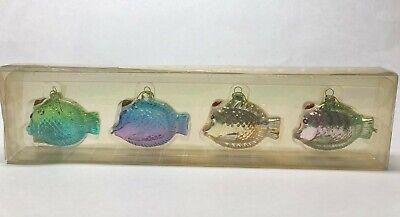 Tropical Fish Glass Christmas Ornaments 3 inch x 1.25 inch Set of 4 NIB ()