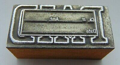 Vintage Printing Letterpress Printers Block Paid Ck Amt Date