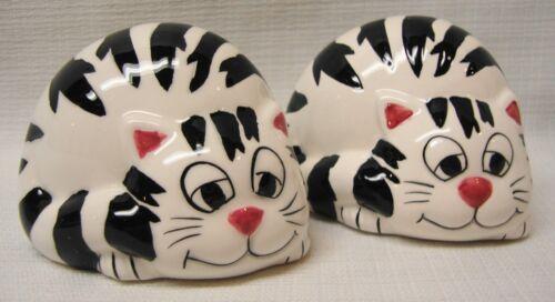 Cat Salt & Pepper Shakers Black and White Striped Kitties
