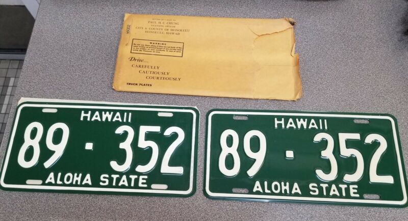 1961 State Of Hawaii License Plate Set