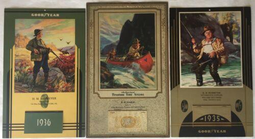 FIRESTONE & GOODYEAR CALENDARS 1929-36 HUNTERS - GAME - CANOE - FISHERMAN & BEAR