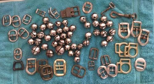 77 Vintage Horse Items Harness Buckles - Jingle Bells & Misc Harness Brass