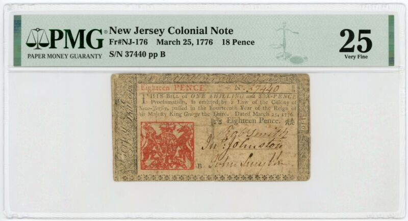 (NJ-176) March 25, 1776 18 Pence NEW JERSEY Colonial Currency Note - PMG VF 25