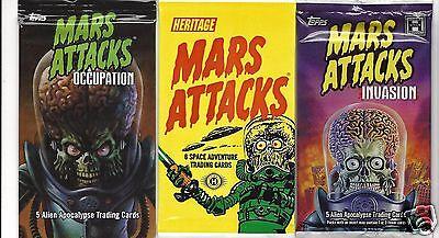 Mars Attacks Topps 3 sealed packs random sketch, metal & foils,autographs,gold +