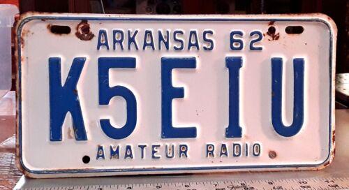 ARKANSAS - 1962 HAM RADIO license plate - K call, all original paint as shown