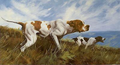 "POINTER ENGLISH DOG FINE ART LIMITED EDITION PRINT ""Teamwork"" by John Trickett"
