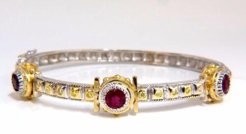 2.23 Natural Ruby Yellow Diamond Bangle Bracelet 14kt Spanish / Gothic Deco