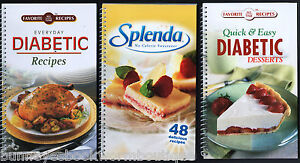 LOT 3 DIABETIC COOKBOOKS Recipes NEW Splenda COOKING Meals DESSERTS Food COOK