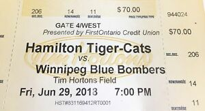 1 Hamilton Tiger-Cats home opener ticket.