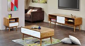 Coffee Table - Retro Style - White / Oak - New Arrival Malaga Swan Area Preview