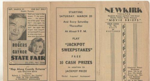 Newkirk Theatre, Brooklyn New York Movie Flyer  1930