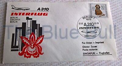 Ersttagsflug Interflug Berlin - Singapur - Berlin mit der A 310