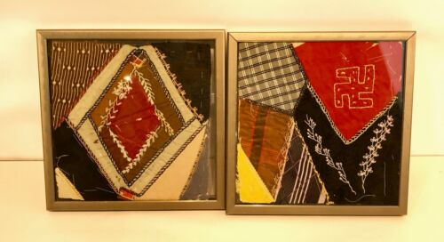 Framed Antique Crazy Quilt Block with Embroidery - a Pair
