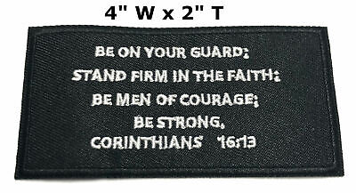 Corinthians 16:13 Embroidered Patch Iron / Sew-on Bible Christian Biker Applique
