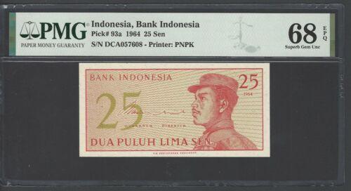 Indonesia  25 Sen 1964 P93a Uncirculated Graded 68