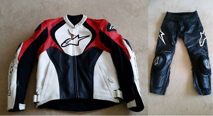 Alpinestars Jaws Leather Jacket EU 50 and Track Leather Pants 52