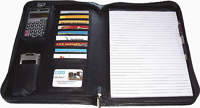 New Zippered Padfolio 10 Cards Pockets Letter Size Pad Pen Loop Black