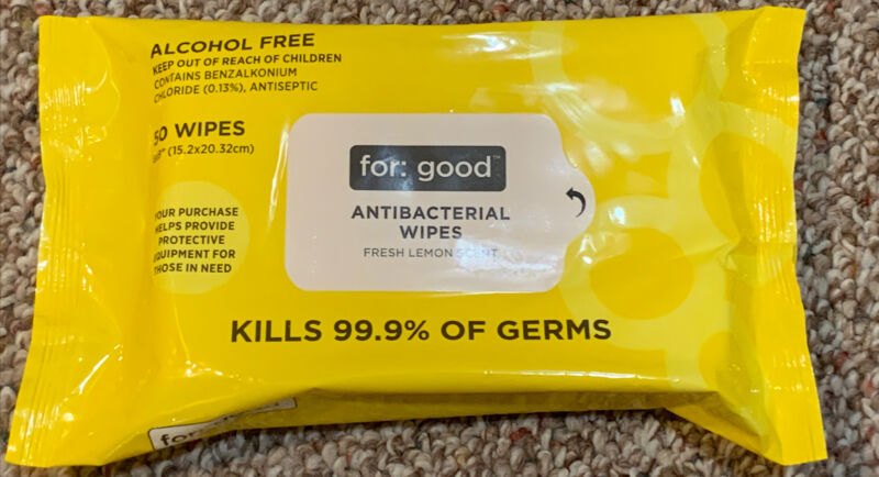 For Good Antibacterial Wipes. 50 Count.