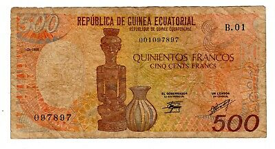 EQUATORIAL GUINEE  Billet 500 FRANCS 01/01/ 1985 P20 STATUT VASE BON ETAT
