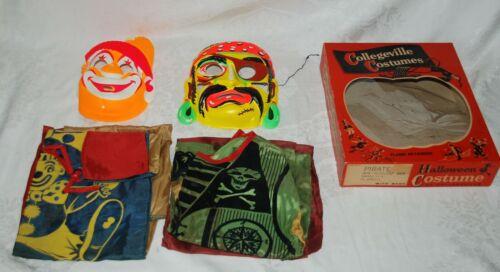 2 Vintage 1950-60s Collegeville Halloween Costumes Pirate & Clown