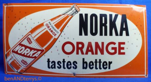 Norka Orange Soda Cola Beverage Advertising Tin Metal Vintage Sign
