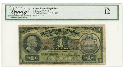 Costa Rica ... P-148a ... 1 Colon ... Jun-1918 ... *F*. (12)