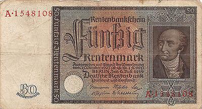 Original Rentenbankschein 50 Rentenmark 1934 vom Stein