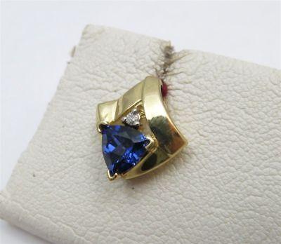 10K YELLOW GOLD BLUE SAPPHIRE DIAMOND PENDANT SLIDE - SLIDE (Sapphire Slide Pendant)