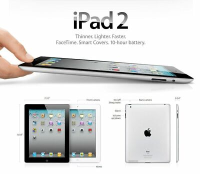 Apple iPad 2 16GB WiFi Unlocked Silver  - iOS 9 Grade A 48 H 1 Year Warranty