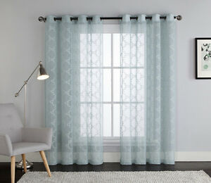 Blue Embroidered Sheer Window Curtain Panel Grommets