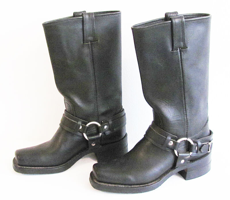 Women's FRYE Black Leather Harness Short Motorcycle Boots Size 6.5 M  - NICE!