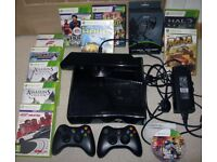 XBOX360 250gb black console Kinect sensor 2 controllers headset - Biotech EX 04 wireless 12 games