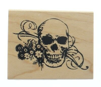 Inkadinkado Halloween Skull Skeleton with Flowers Wooden Rubber Stamp - Inkadinkado Halloween Stamps