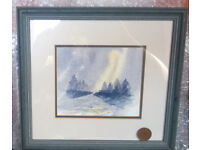 framed watercolor scene pictures